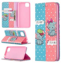 Elephant Boy and Girl Slim Magnetic Attraction Wallet Flip Cover for Huawei Y5p