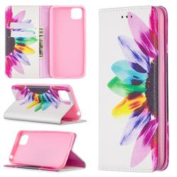 Sun Flower Slim Magnetic Attraction Wallet Flip Cover for Huawei Y5p