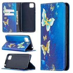 Gold Butterfly Slim Magnetic Attraction Wallet Flip Cover for Huawei Y5p