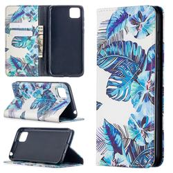 Blue Leaf Slim Magnetic Attraction Wallet Flip Cover for Huawei Y5p