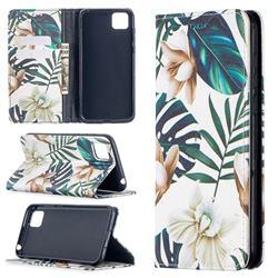 Flower Leaf Slim Magnetic Attraction Wallet Flip Cover for Huawei Y5p