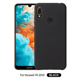 Howmak Slim Liquid Silicone Rubber Shockproof Phone Case Cover for Huawei Y6 (2019) - Black