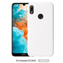 Howmak Slim Liquid Silicone Rubber Shockproof Phone Case Cover for Huawei Y6 (2019) - White