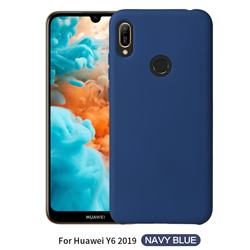 Howmak Slim Liquid Silicone Rubber Shockproof Phone Case Cover for Huawei Y6 (2019) - Midnight Blue
