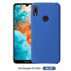 Howmak Slim Liquid Silicone Rubber Shockproof Phone Case Cover for Huawei Y6 (2019) - Sky Blue