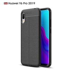 Luxury Auto Focus Litchi Texture Silicone TPU Back Cover for Huawei Y6 (2019) - Black