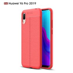Luxury Auto Focus Litchi Texture Silicone TPU Back Cover for Huawei Y6 (2019) - Red