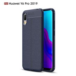 Luxury Auto Focus Litchi Texture Silicone TPU Back Cover for Huawei Y6 (2019) - Dark Blue