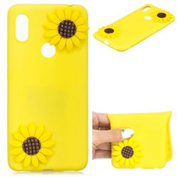 Yellow Sunflower Soft 3D Silicone Case for Huawei Y6 (2019)