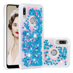 Dynamic Liquid Glitter Quicksand Sequins TPU Phone Case for Huawei Y6 (2019) - Blue