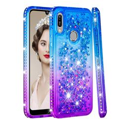 Diamond Frame Liquid Glitter Quicksand Sequins Phone Case for Huawei Y6 (2019) - Blue Purple