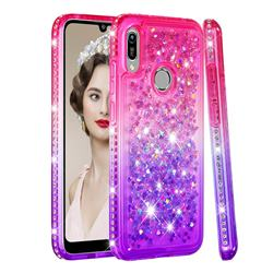 Diamond Frame Liquid Glitter Quicksand Sequins Phone Case for Huawei Y6 (2019) - Pink Purple