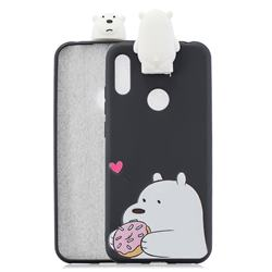Big White Bear Soft 3D Climbing Doll Stand Soft Case for Huawei Y6 (2019)