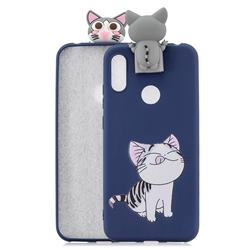 Grinning Cat Soft 3D Climbing Doll Stand Soft Case for Huawei Y6 (2019)