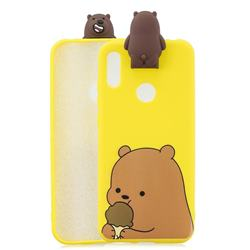 Brown Bear Soft 3D Climbing Doll Stand Soft Case for Huawei Y6 (2019)