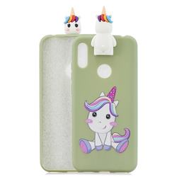 Cute Unicorn Soft 3D Climbing Doll Stand Soft Case for Huawei Y6 (2019)