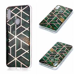 Green Rhombus Galvanized Rose Gold Marble Phone Back Cover for Huawei Y6 (2019)