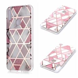 Pink Rhombus Galvanized Rose Gold Marble Phone Back Cover for Huawei Y6 (2019)
