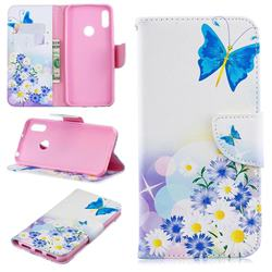 Butterflies Flowers Leather Wallet Case for Huawei Y6 (2019)
