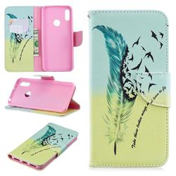 Feather Bird Leather Wallet Case for Huawei Y6 (2019)