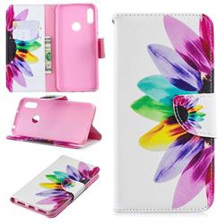 Seven-color Flowers Leather Wallet Case for Huawei Y6 (2019)