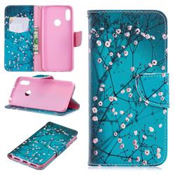 Blue Plum Leather Wallet Case for Huawei Y6 (2019)