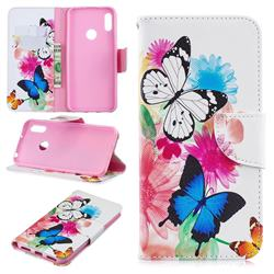 Vivid Flying Butterflies Leather Wallet Case for Huawei Y6 (2019)