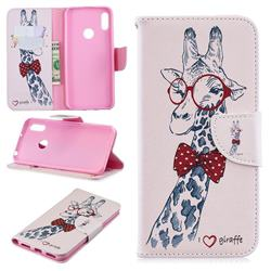 Glasses Giraffe Leather Wallet Case for Huawei Y6 (2019)