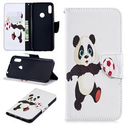 Football Panda Leather Wallet Case for Huawei Y6 (2019)