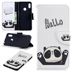 Hello Panda Leather Wallet Case for Huawei Y6 (2019)