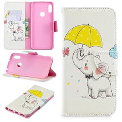 Umbrella Elephant Leather Wallet Case for Huawei Y6 (2019)