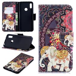 Totem Flower Elephant Leather Wallet Case for Huawei Y6 (2019)