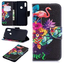 Flowers Flamingos Leather Wallet Case for Huawei Y6 (2019)