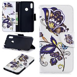 Butterflies and Flowers Leather Wallet Case for Huawei Y6 (2019)
