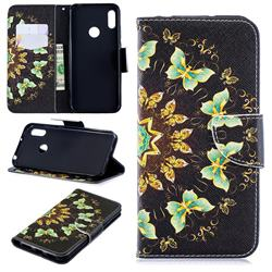 Circle Butterflies Leather Wallet Case for Huawei Y6 (2019)
