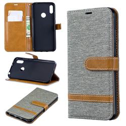 Jeans Cowboy Denim Leather Wallet Case for Huawei Y6 (2019) - Gray