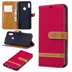 Jeans Cowboy Denim Leather Wallet Case for Huawei Y6 (2019) - Red