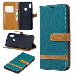 Jeans Cowboy Denim Leather Wallet Case for Huawei Y6 (2019) - Green