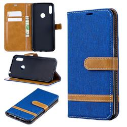 Jeans Cowboy Denim Leather Wallet Case for Huawei Y6 (2019) - Sapphire
