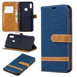 Jeans Cowboy Denim Leather Wallet Case for Huawei Y6 (2019) - Dark Blue