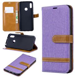 Jeans Cowboy Denim Leather Wallet Case for Huawei Y6 (2019) - Purple