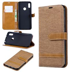 Jeans Cowboy Denim Leather Wallet Case for Huawei Y6 (2019) - Brown
