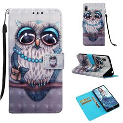 Sweet Gray Owl 3D Painted Leather Wallet Case for Huawei Y6 (2019)