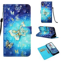 Gold Butterfly 3D Painted Leather Wallet Case for Huawei Y6 (2019)