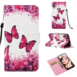 Rose Butterfly 3D Painted Leather Wallet Case for Huawei Y6 (2019)