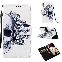 Skull Flower 3D Painted Leather Wallet Case for Huawei Y6 (2019)