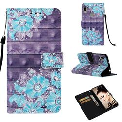 Blue Flower 3D Painted Leather Wallet Case for Huawei Y6 (2019)
