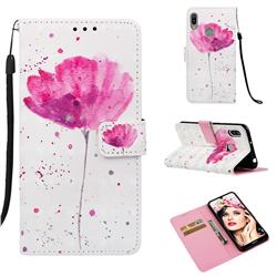 Watercolor 3D Painted Leather Wallet Case for Huawei Y6 (2019)