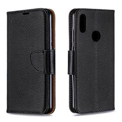 Classic Luxury Litchi Leather Phone Wallet Case for Huawei Y6 (2019) - Black
