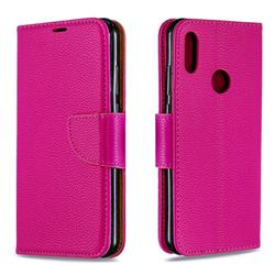 Classic Luxury Litchi Leather Phone Wallet Case for Huawei Y6 (2019) - Rose